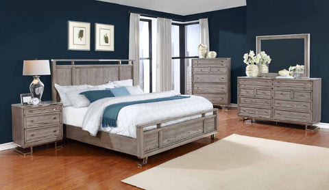 The Johnathan Bedroom Industrial Shell and Chrome California King Bed