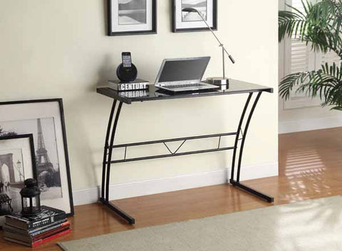 Casual Black Tempered Glass Writing Desk