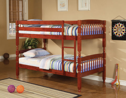 Logan Red Amber Twin-over-Twin Bunk Bed