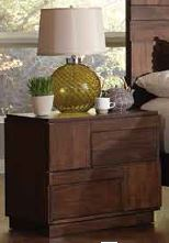 Gallagher Rustic Brown Geometric Pattern Nightstand