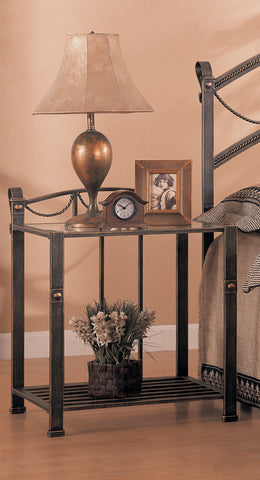Georgia Metal Bed Traditional Brass Nightstand