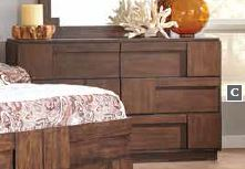 Gallagher Rustic Brown Geometric Pattern Six-Drawer Dresser