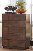 Gallagher Rustic Brown Geometric Pattern Five-Drawer Chest
