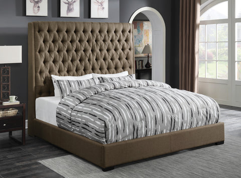 Camille Brown Upholstered Queen Bed