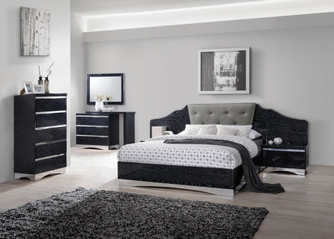 Alessandro Contemporary Glossy Black California King Bed