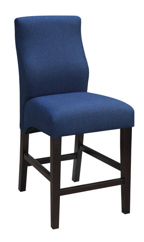 Transitional Blue Upholstered Counter-Height  Stool