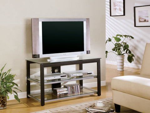 Contemporary Black and Silver TV Console