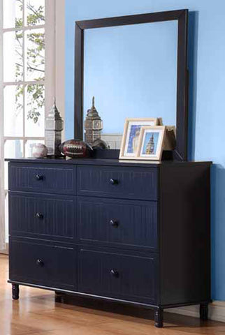 Zachary Cottage Navy Six-Drawer Dresser