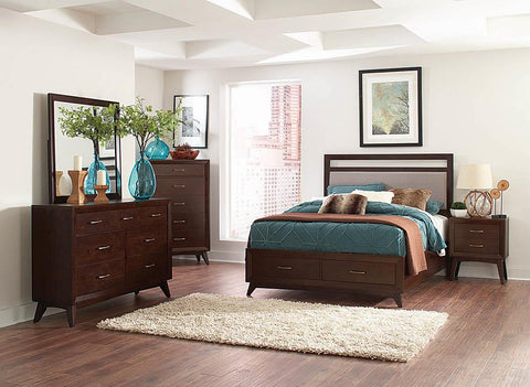 Carrington Mid-Century Modern Coffee Queen Bed