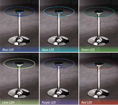 Contemporary Chrome LED End Table