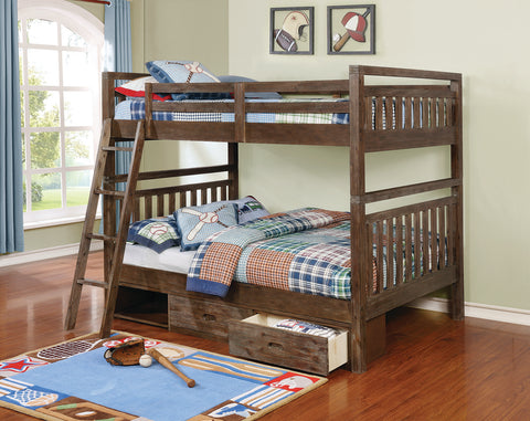 Malcolm Transitional Brushed Acacia Full-over-Full Bunk Bed