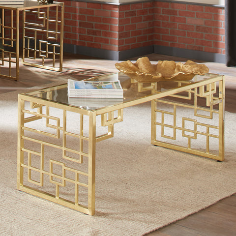 Accents Brass Geometric Coffee Table