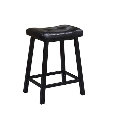 Traditional Black Backless Counter-Height  Stool