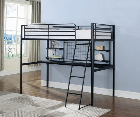 Boltzero Contemporary Black Twin Loft Bunk Bed