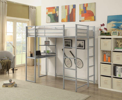Trinidad Casual Silver Twin Workstation Bed
