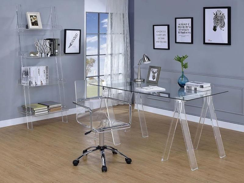 AMATURO CLEAR ACRYLIC SAWHORSE WRITING DESK - $283.50
