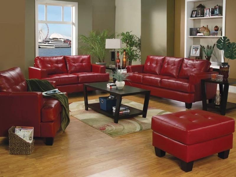 SAMUEL TRANSITIONAL RED THREE-PIECE LIVING ROOM SET - $1,273.50
