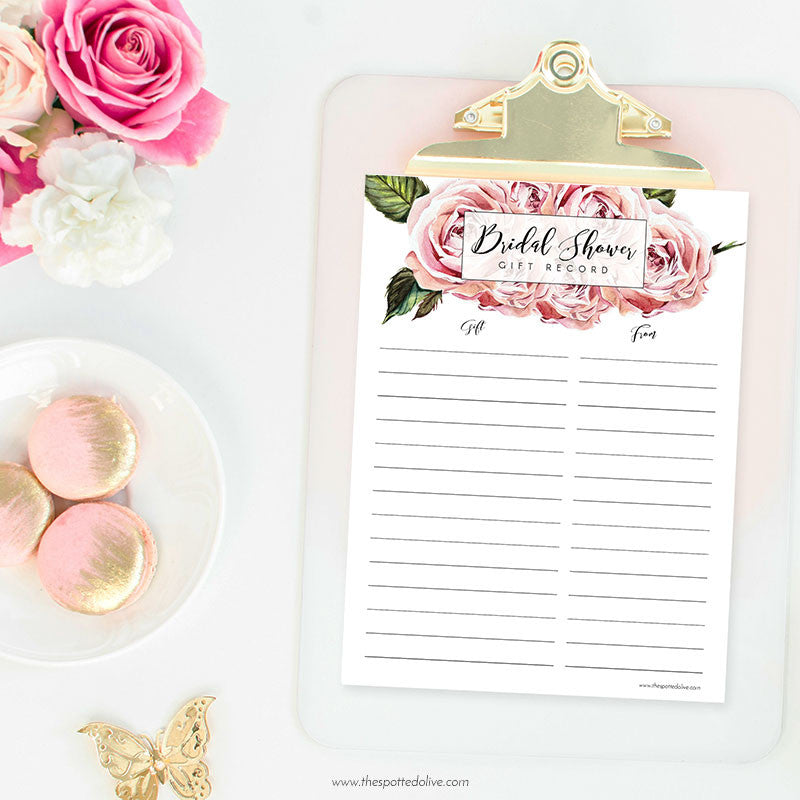 bridal shower gift record printable freebie
