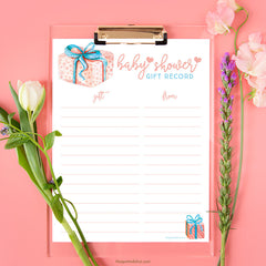 Baby Shower Gift Record Printable by The Spotted Olive