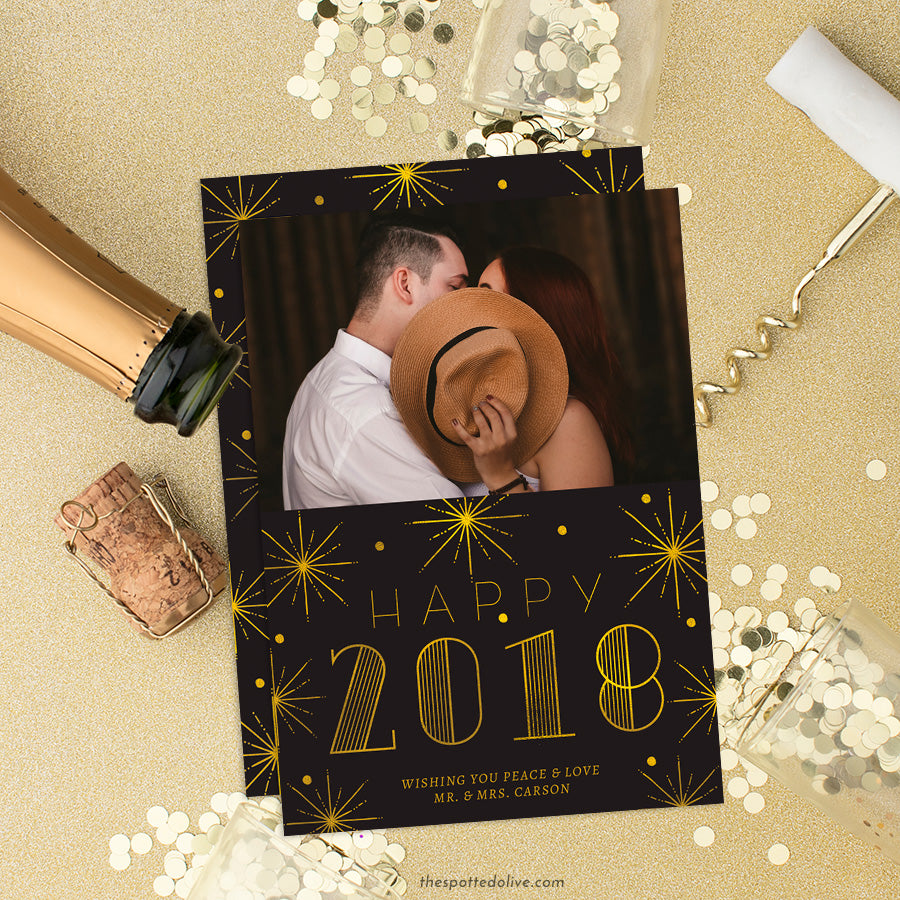 Black & Gold Bursts New Year Photo Cards by The Spotted Olive