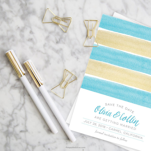 Charming Seaside Stripes Save The Dates by The Spotted Olive