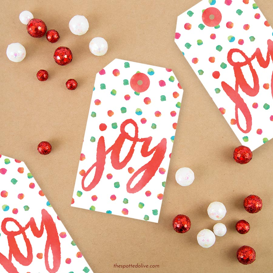 Joy Holiday Gift Tags Printable by The Spotted Olive