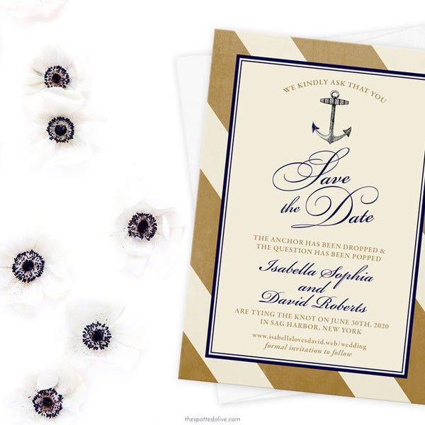 Gold Nautical Stripes Save The Dates by The Spotted Olive