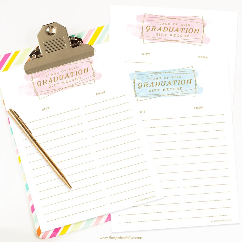 Graduation Gift Record Free Printable by The Spotted Olive