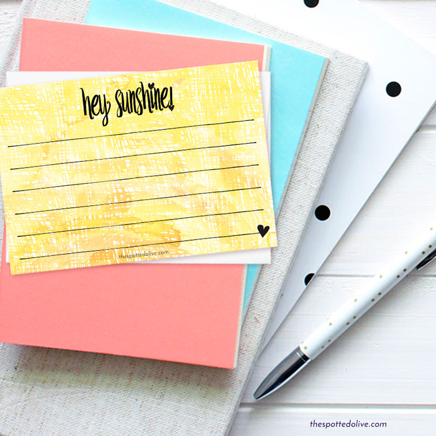 Hey Sunshine Note Card Printable by The Spotted Olive