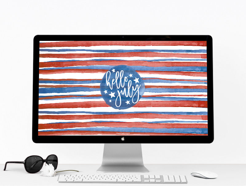 July Stripes Desktop Wallpaper by The Spotted Olive