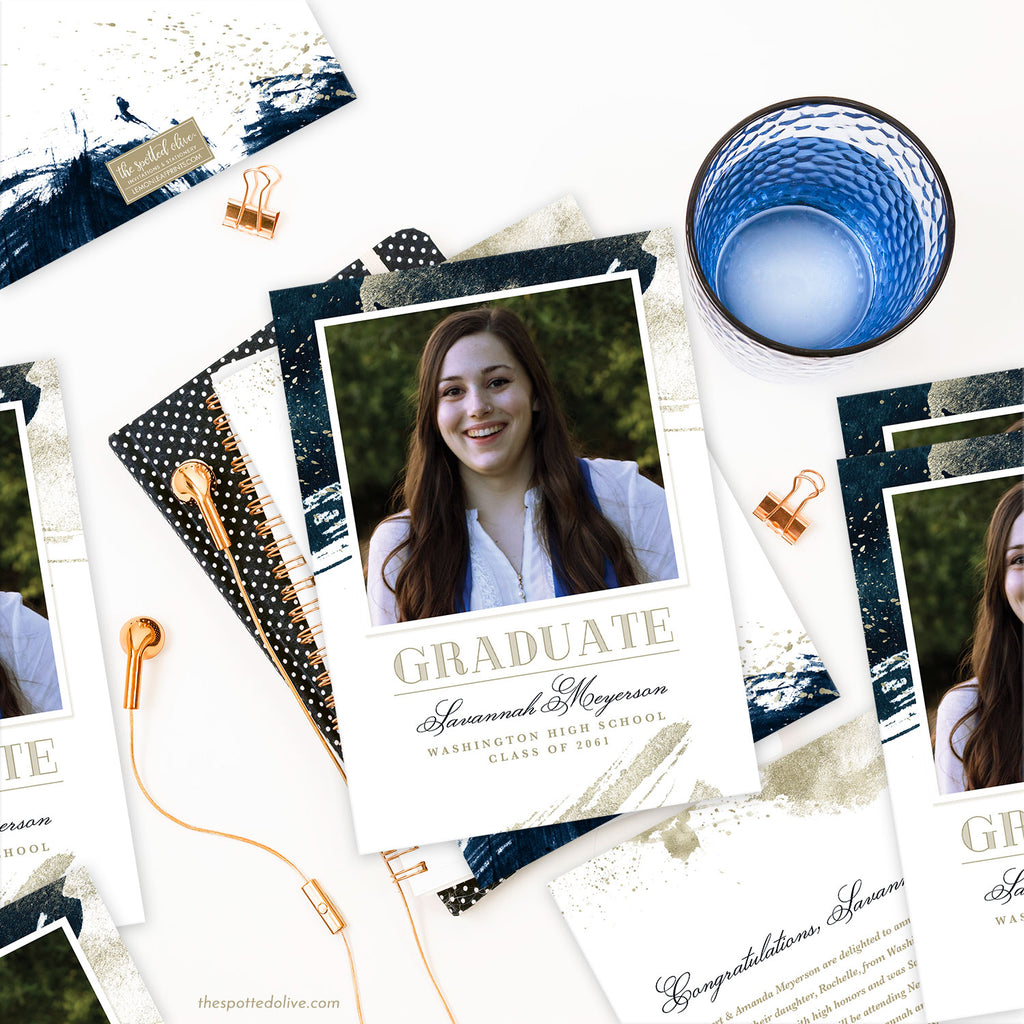 Navy & Gold Abstract Graduation Announcement by The Spotted Olive