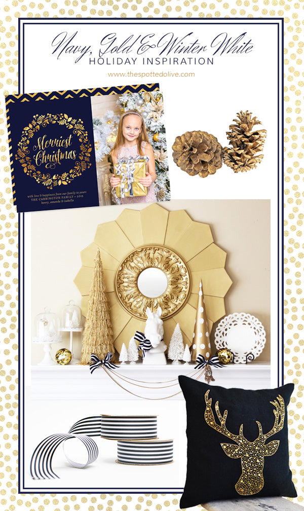 Navy, Gold & Winter White Holiday Inspiration by The Spotted Olive