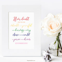 Never Doubt Hillary Clinton Quote Printable by The Spotted Olive