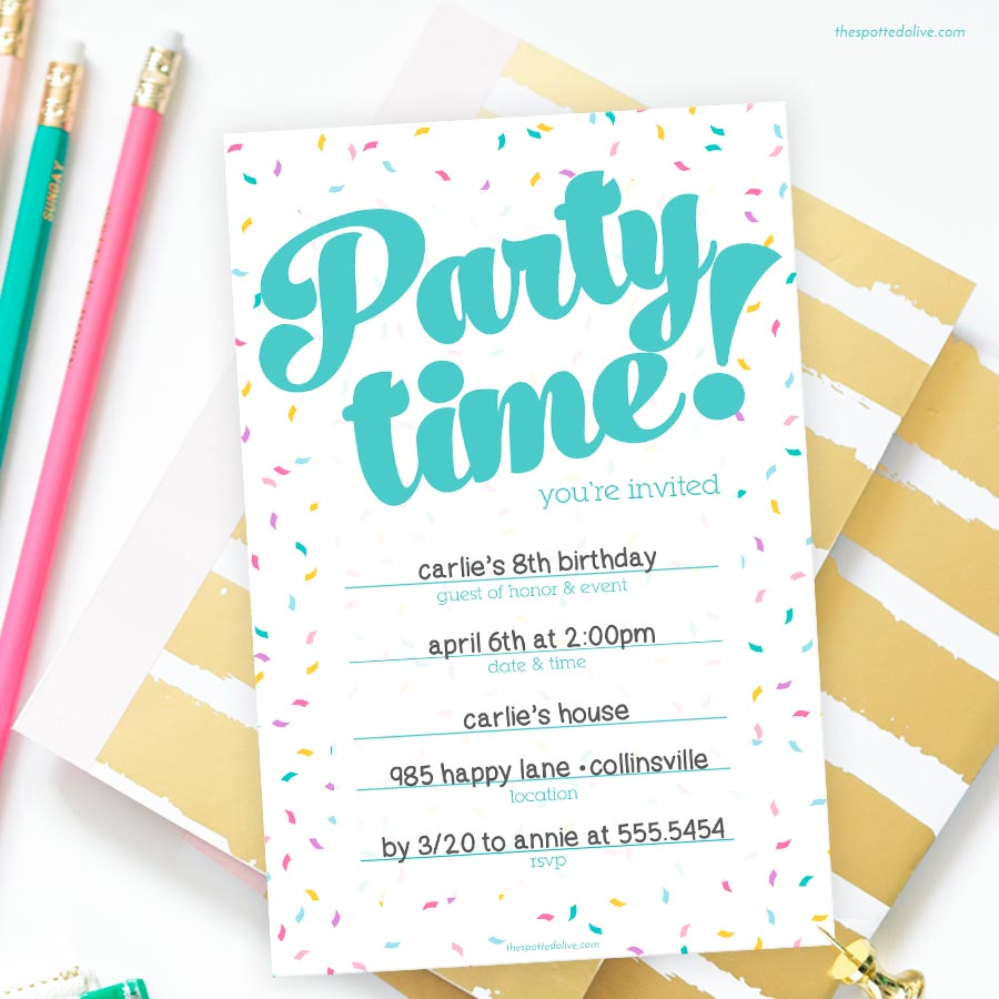 Party Time Confetti Write-In Invitations Freebie by The Spotted Olive
