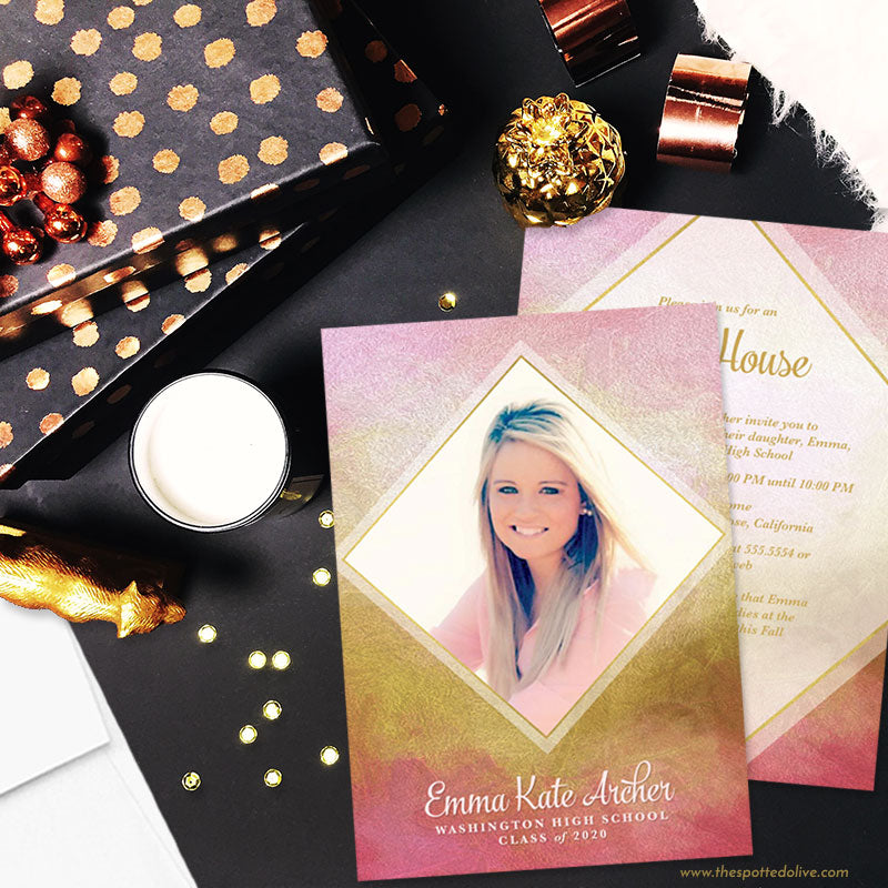 Pink & Gold Diamond Graduation Announcements by The Spotted Olive