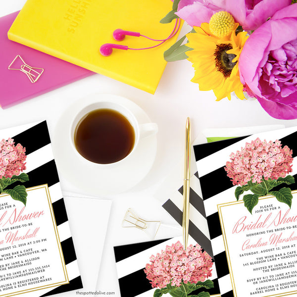 Pink Hydrangeas & Black Stripes Bridal Shower Invitations by The Spotted Olive