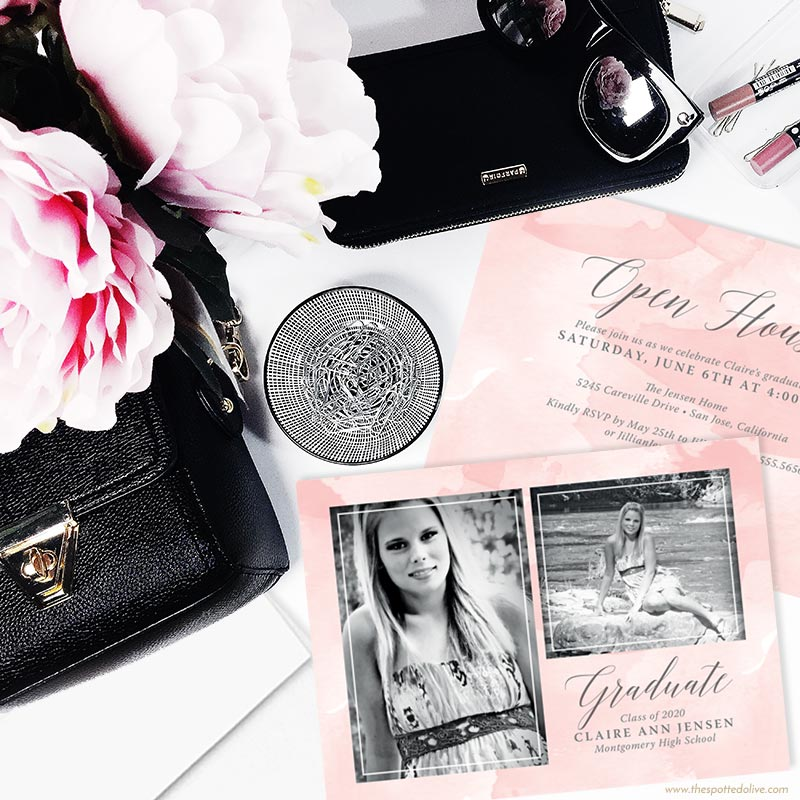 Pink Watercolor Splash Graduation Announcements by The Spotted Olive