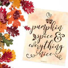 Pumpkin Spice & Everything Nice Word Art Printable Freebie by The Spotted Olive