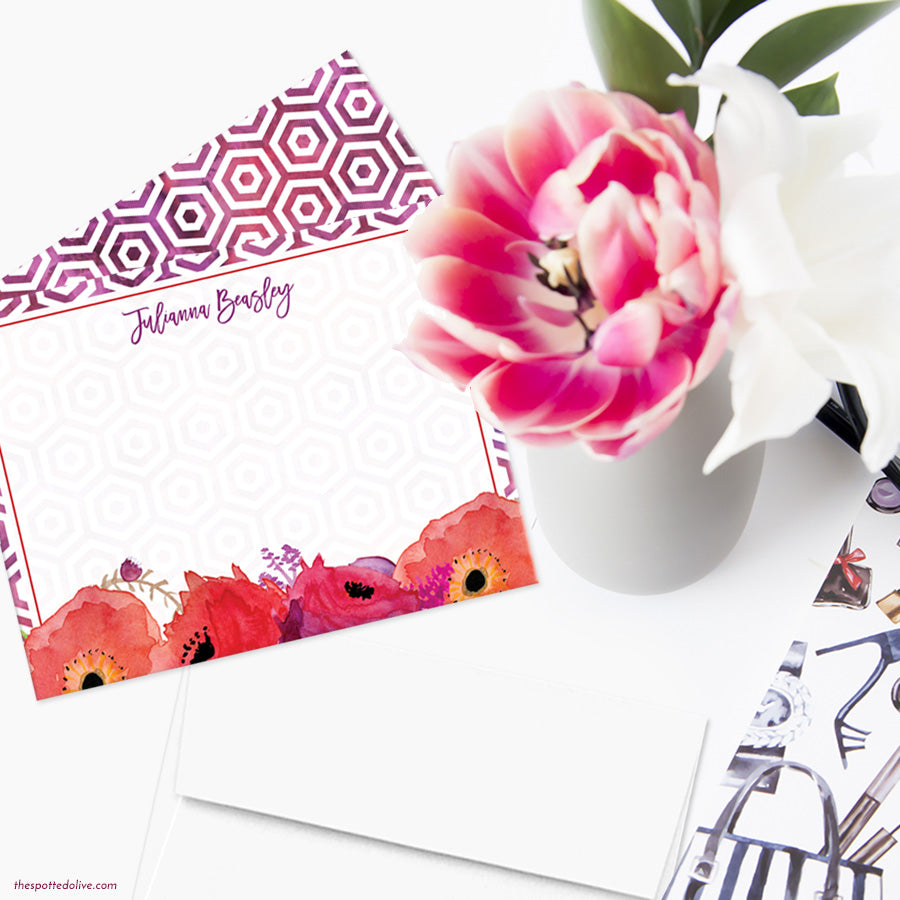 Red & Purple Flowers Personalized Note Cards by The Spotted Olive