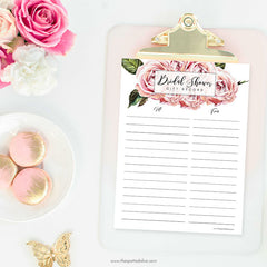 Bridal Shower Gift Record Free Printable by The Spotted Olive