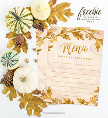 Thanksgiving Menu Free Printable by The Spotted Olive