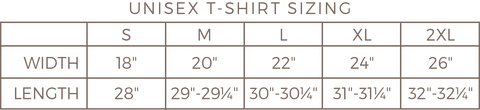 Unisex T-Shirt Sizing The Spotted Olive
