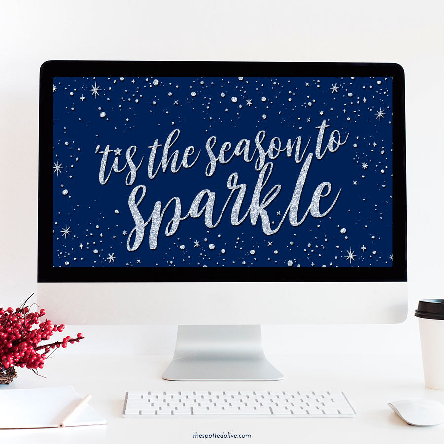 'Tis the Season to Sparkle Desktop Wallpaper by The Spotted Olive - Blue