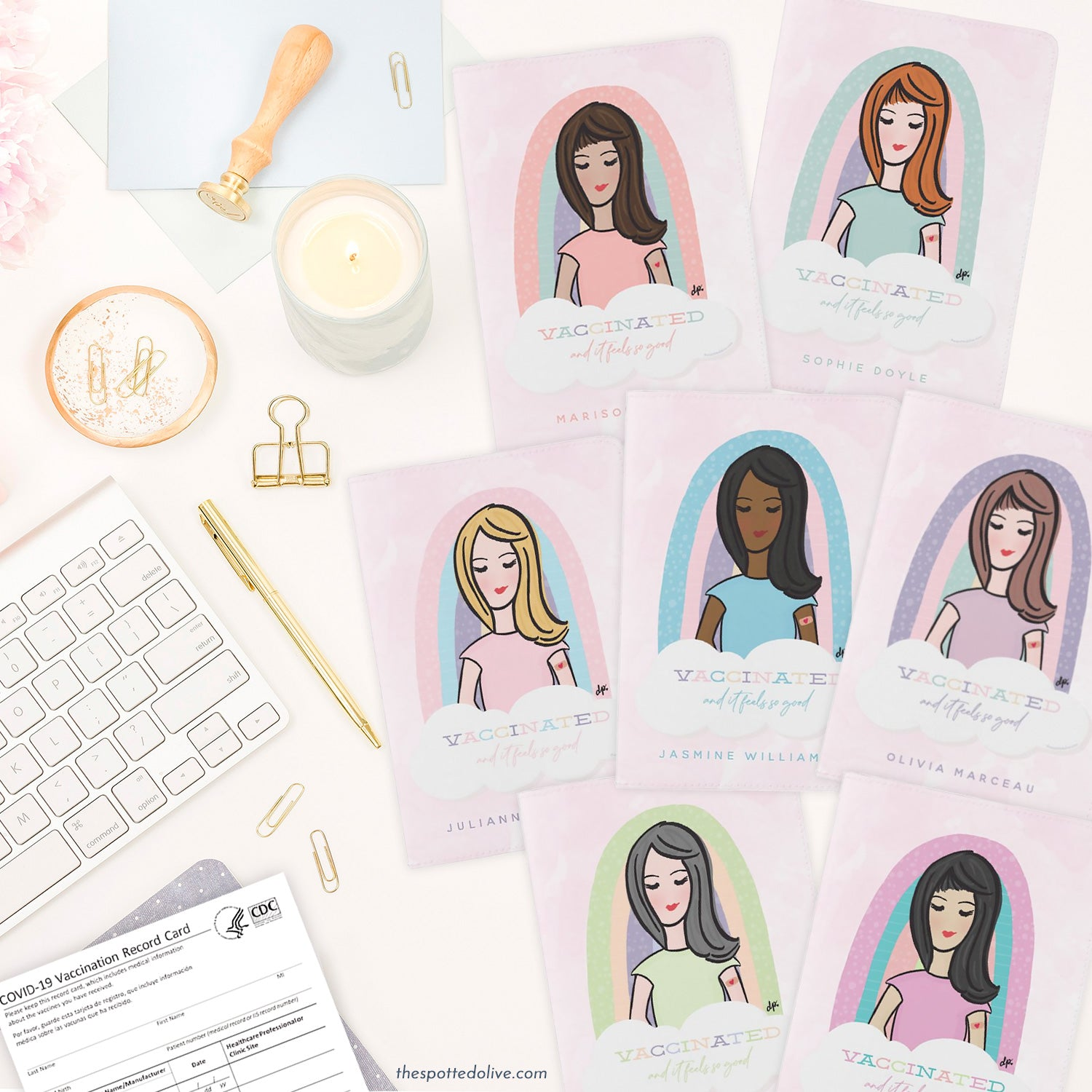 Cute Personalized Vaccination Card Holders (variety) by The Spotted Olive
