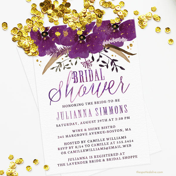 Violet Watercolor Floral Bridal Shower Invitations by The Spotted Olive