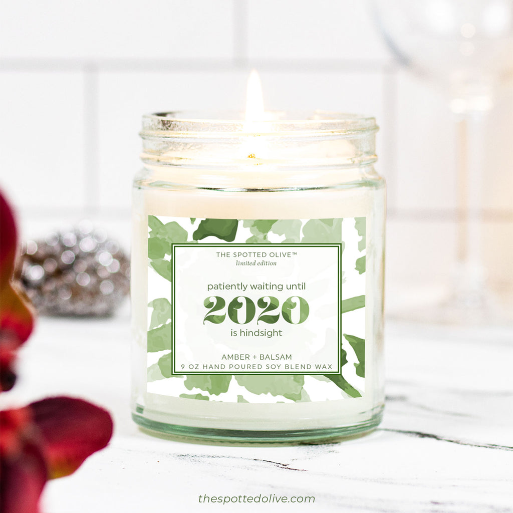 2020 Hindsight Candle by The Spotted Olive - Amber + Balsam