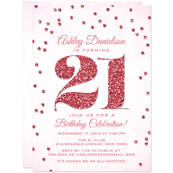 Pink Glitter Look Confetti 21st Birthday Party Invitations