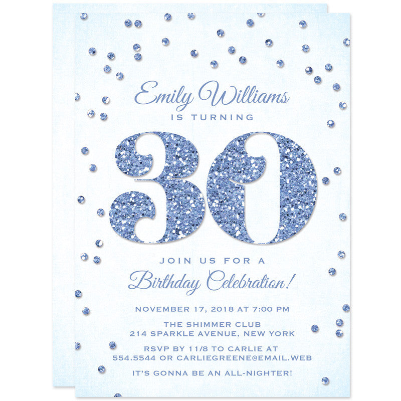 30th Birthday Party Invitations - Glitter Look Confetti - The Spotted Olive - 7