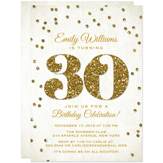 30th Birthday Party Invitations - Glitter Look Confetti - The Spotted Olive - 1
