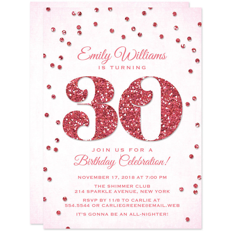 30th Birthday Party Invitations - Glitter Look Confetti - The Spotted Olive - 4
